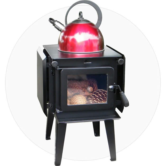 Long legs fitted on a Stepped-Back Flue Little Honey Woodburner