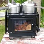 Double Pots on Wide Little Honey Woodburner